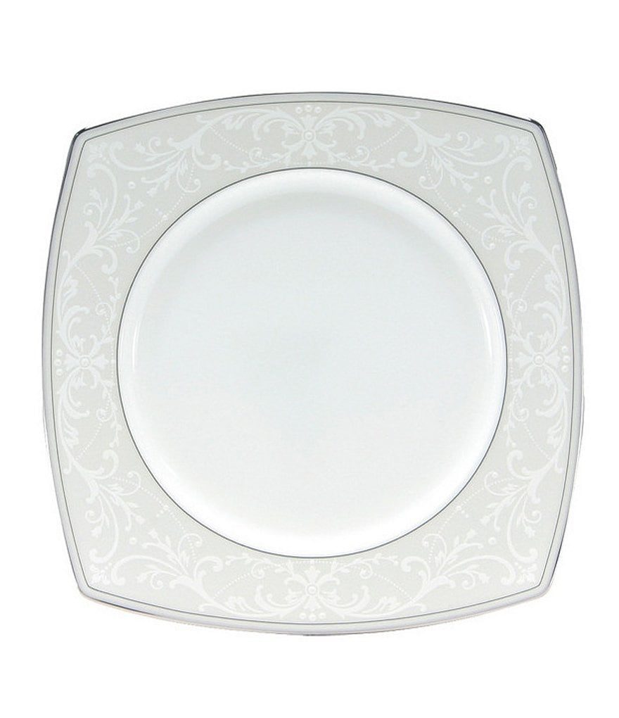 Nikko Pearl Symphony Scroll Bone China Square Salad Plate