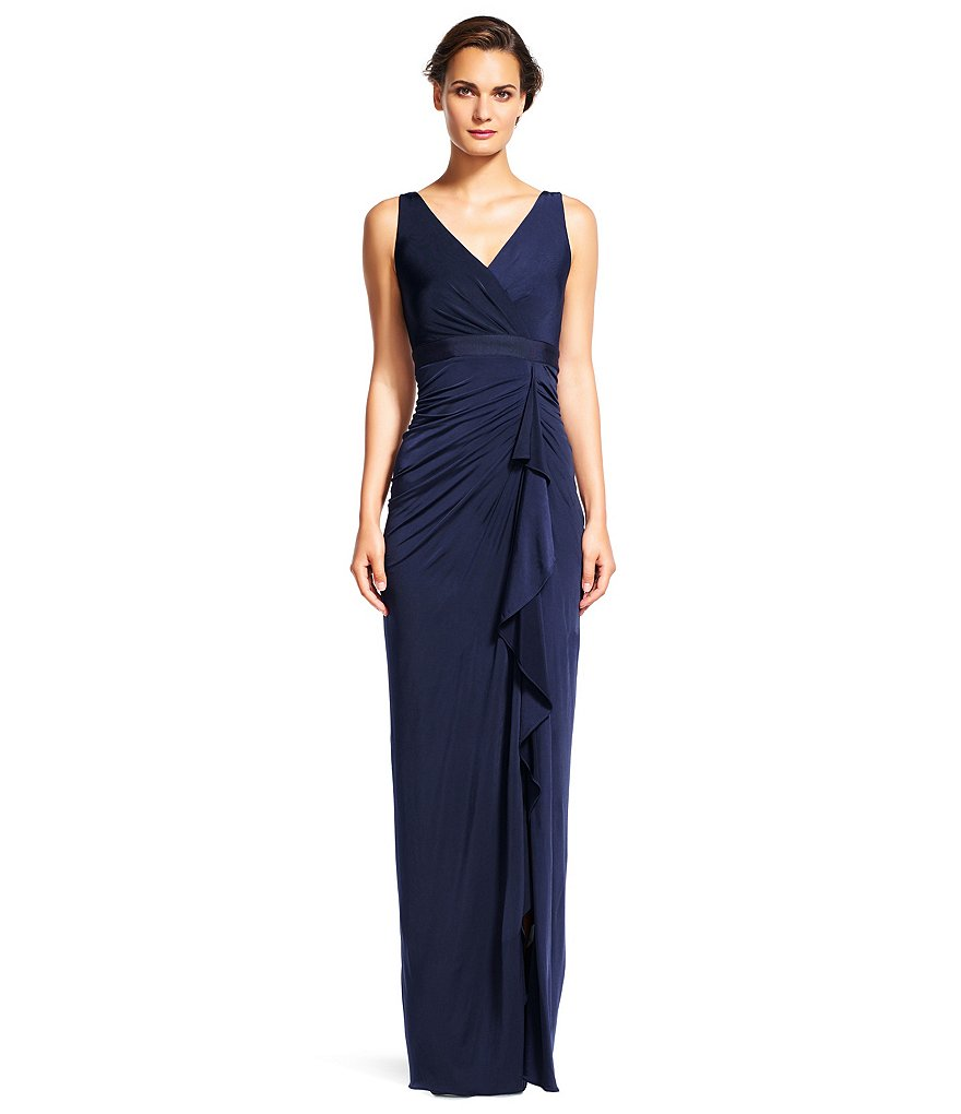 Adrianna Papell Cascading Ruffle Venetian Jersey Gown