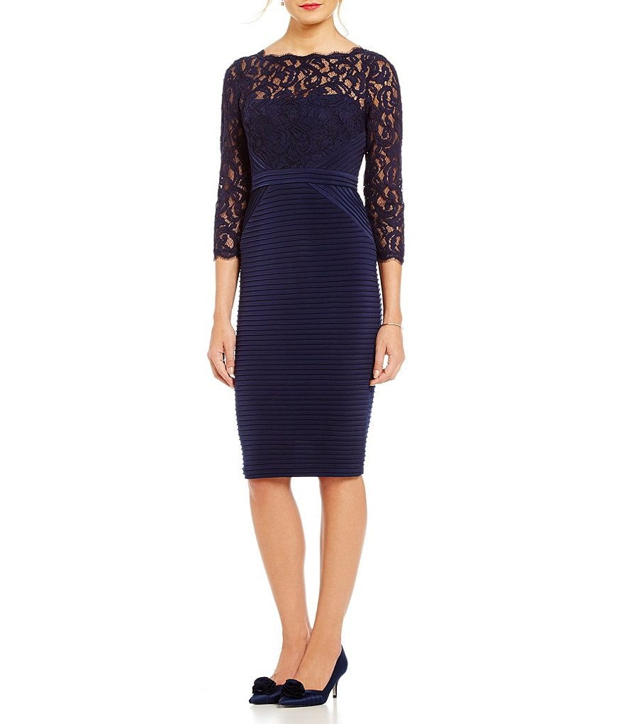 Adrianna Papell Lace Top Banded Sheath Dress