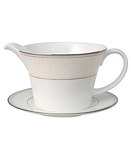 Nikko Pearl Symphony Scroll Bone China Gravy Boat with Stand Image