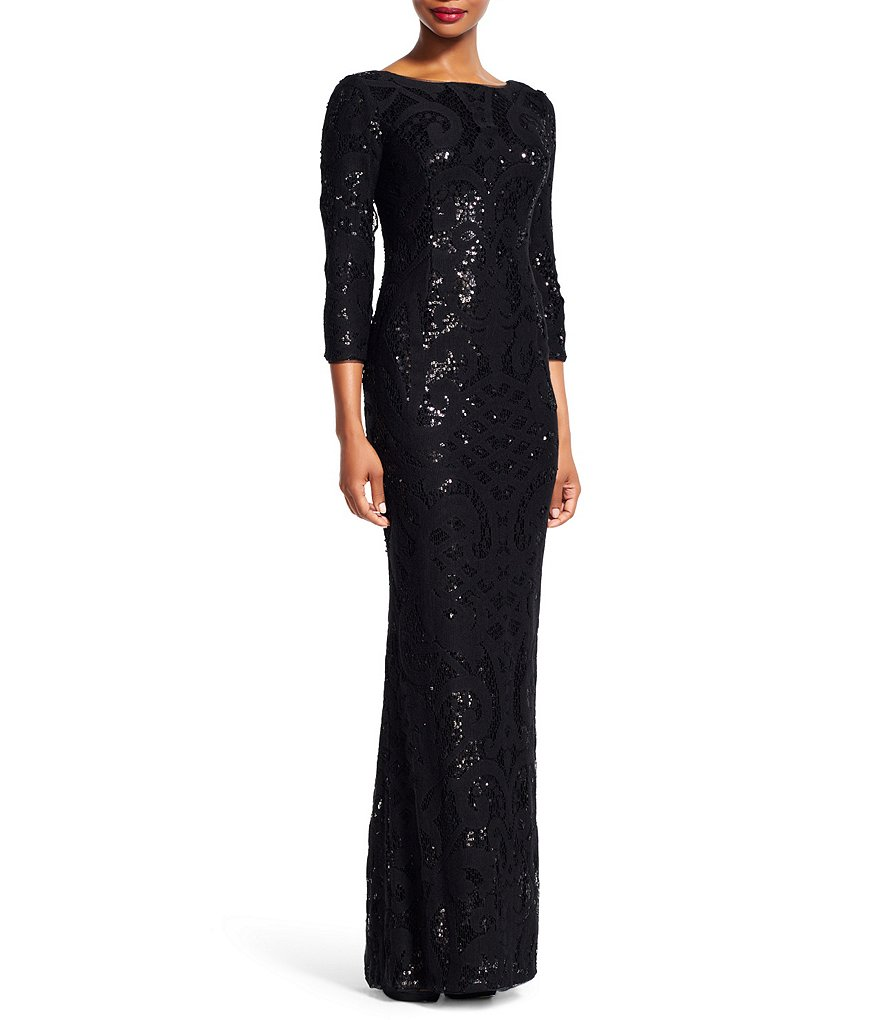 Adrianna Papell Sequin Over Lace Column Gown