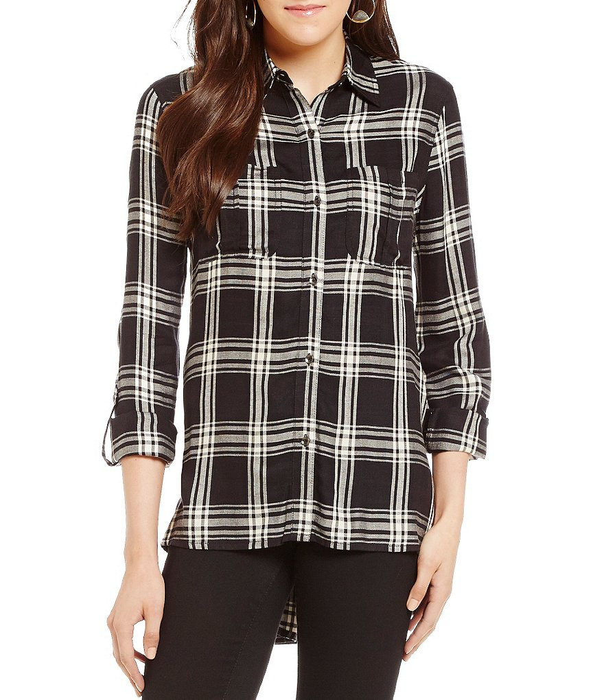 Jessica Simpson Dion Plaid Roll-Sleeve Top