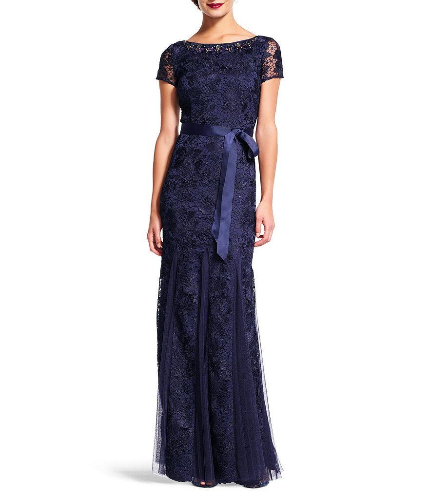 Adrianna Papell Beaded Lace Gown