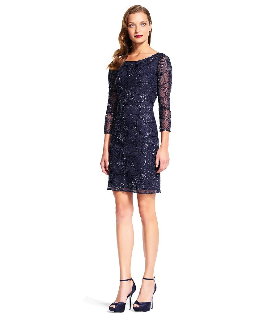 Adrianna Papell Beaded 3/4 Sleeve Sheath Dress
