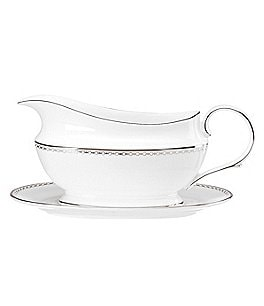 Lenox Pearl Platinum Bone China Gravy Boat with Stand Image