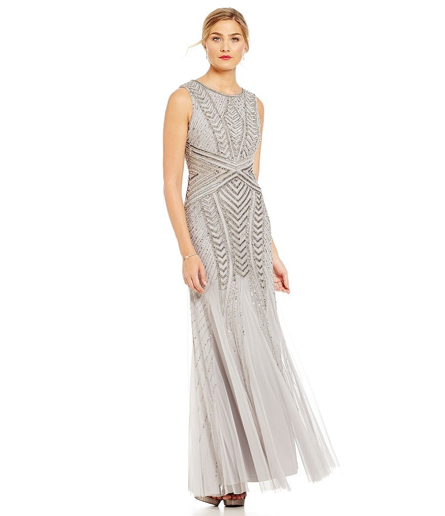 Adrianna Papell Beaded X Seam Gown