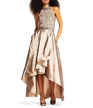 Adrianna Papell Beaded Halter Hi-Low Gown