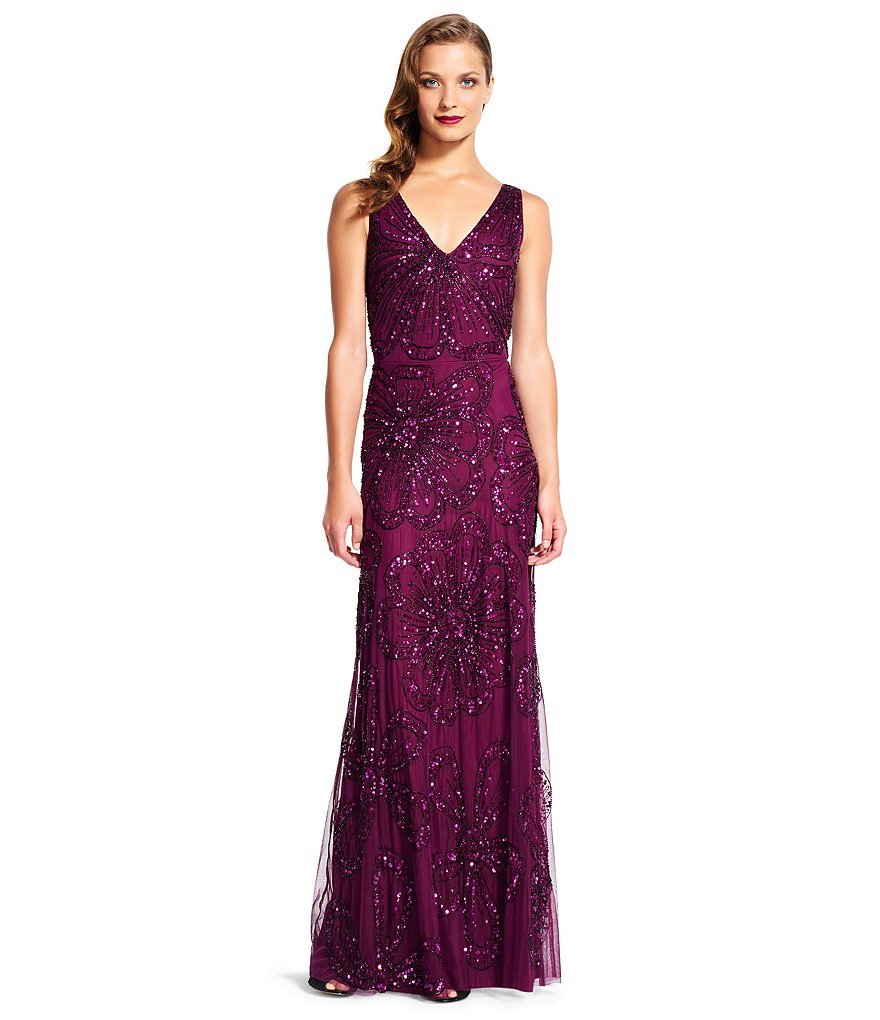 Adrianna Papell Deep V-Neck Sleeveless Beaded Gown