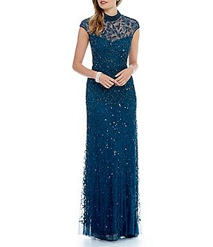 Adrianna Papell Beaded Mock Neck Gown