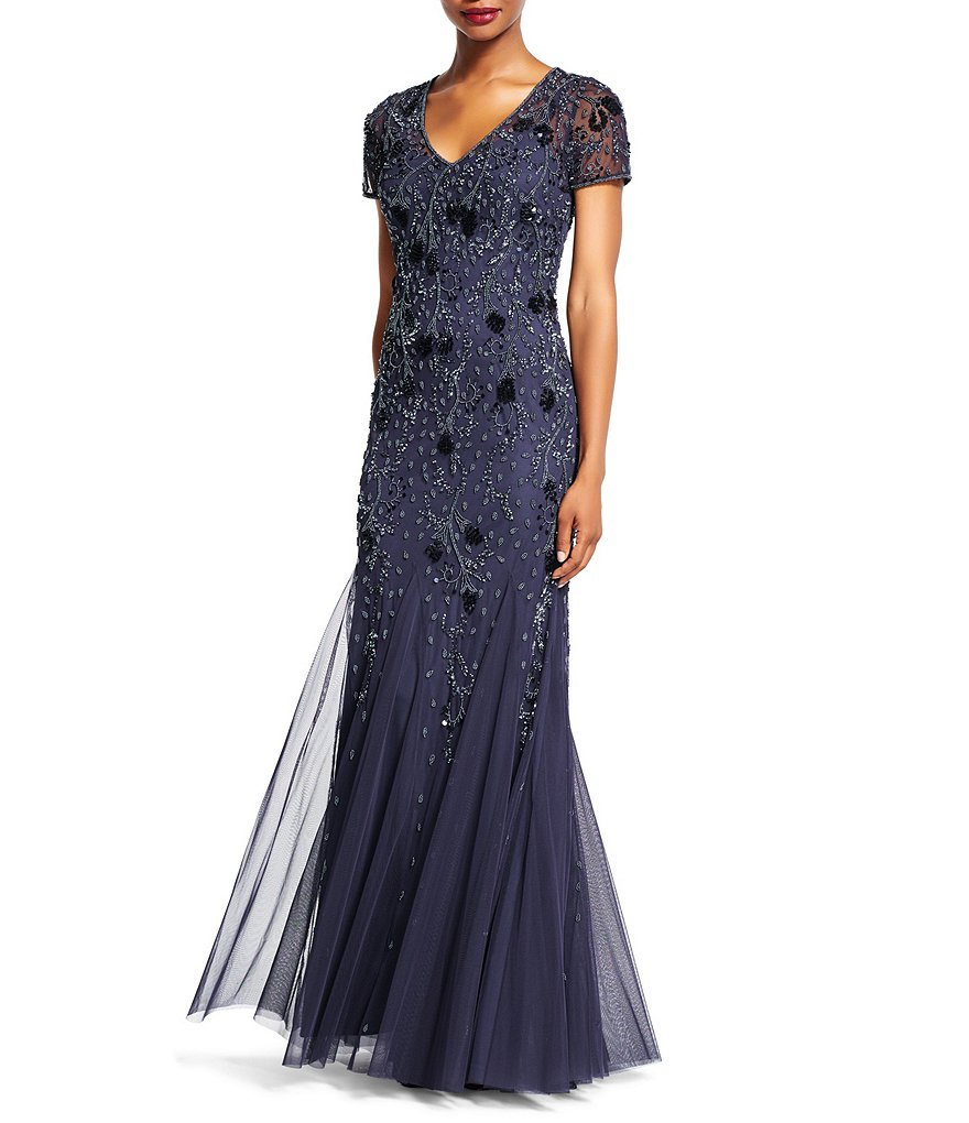 Adrianna Papell Beaded V-Neck Short Sleeve Gown