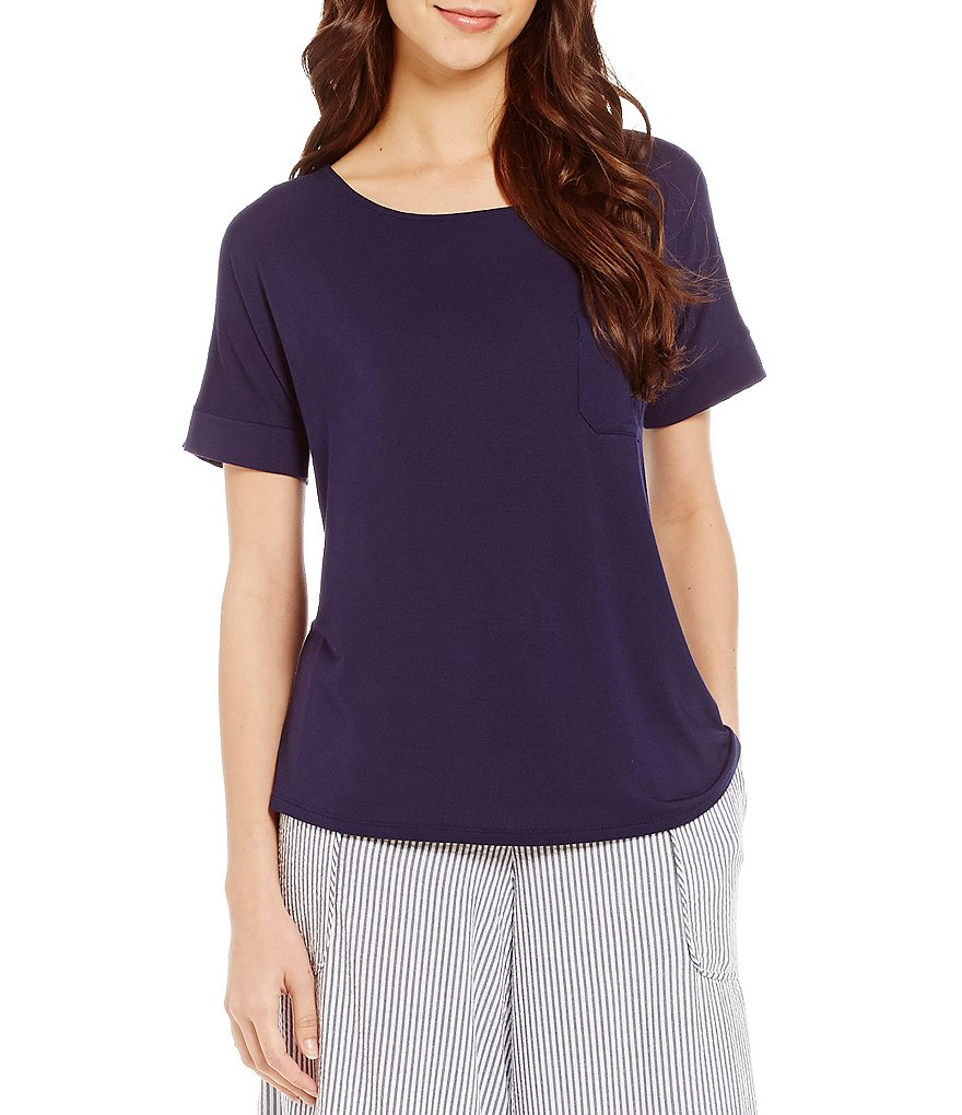 DKNY Solid Boatneck Stretch Knit Sleep Top