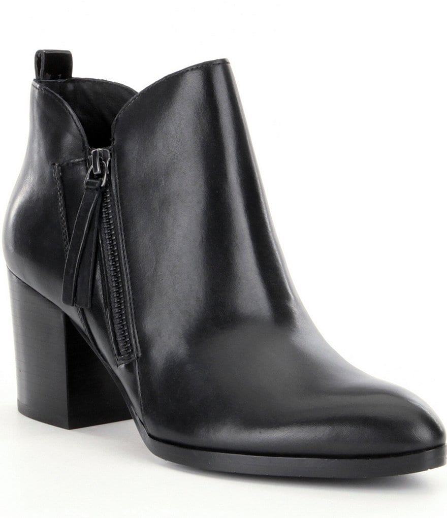 Donald J Pliner Edyn Leather Side Zip Block Heel Booties