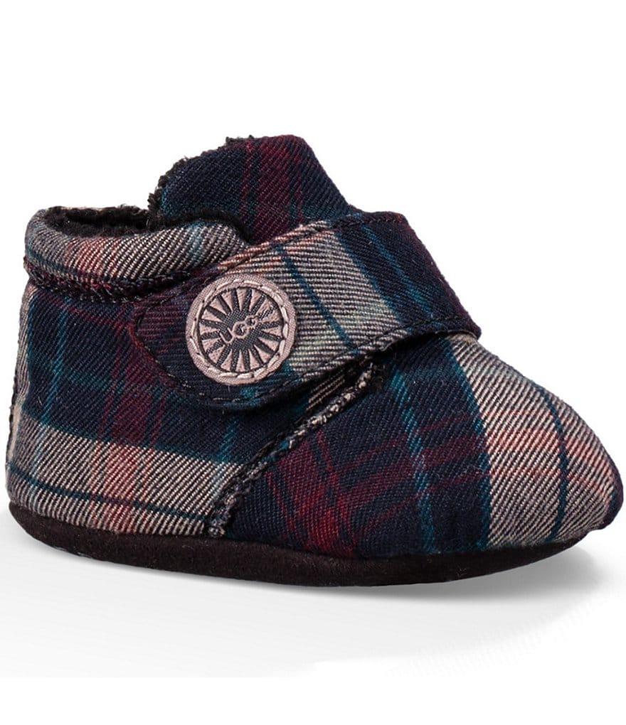 UGG® Kids Bixbee Plaid Crib Shoes