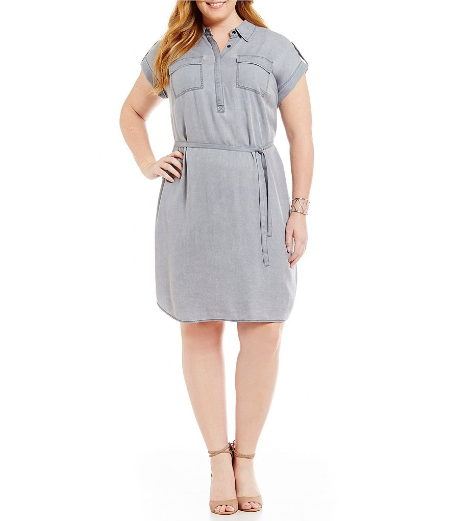 Vince Camuto Plus Short Sleeve Pastel Fade 2 Pocket Shirt Dress