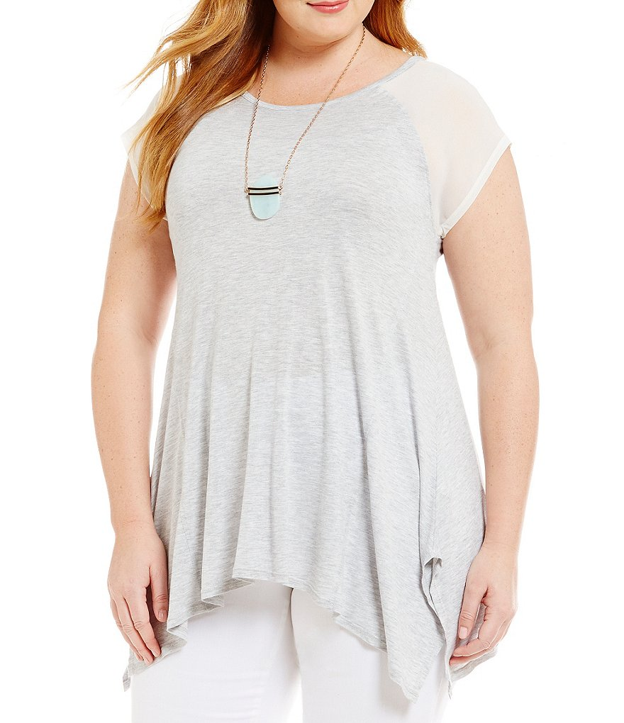 Vince Camuto Plus Short Sleeve Chiffon Shoulder Top
