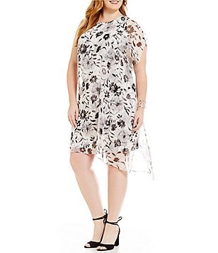 Vince Camuto Plus Sleeveless Dandelion Dress with Chiffon Overlay