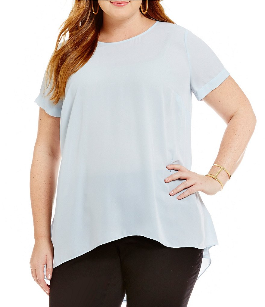 Vince Camuto Plus Short-Sleeve Hi-Low Hem Blouse