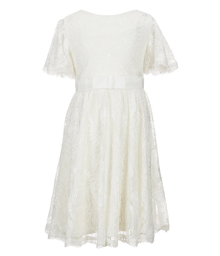 Tadashi Shoji Little/Big Girls 2T-10 Feather-Embroidered Tulle-Overlay Dress