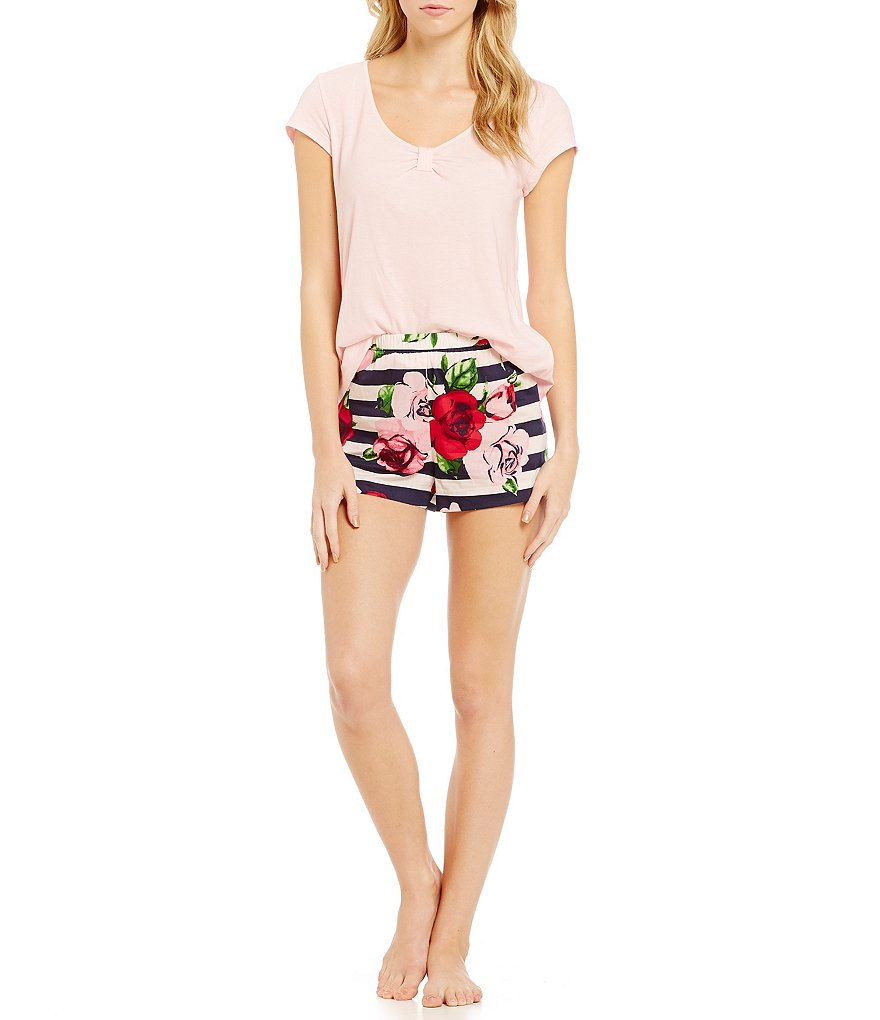 kate spade new york Bow-Cinched & Striped Floral Pajamas