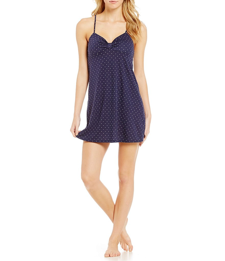kate spade new york Pin Dot-Print Modal Stretch Knit Bow Chemise