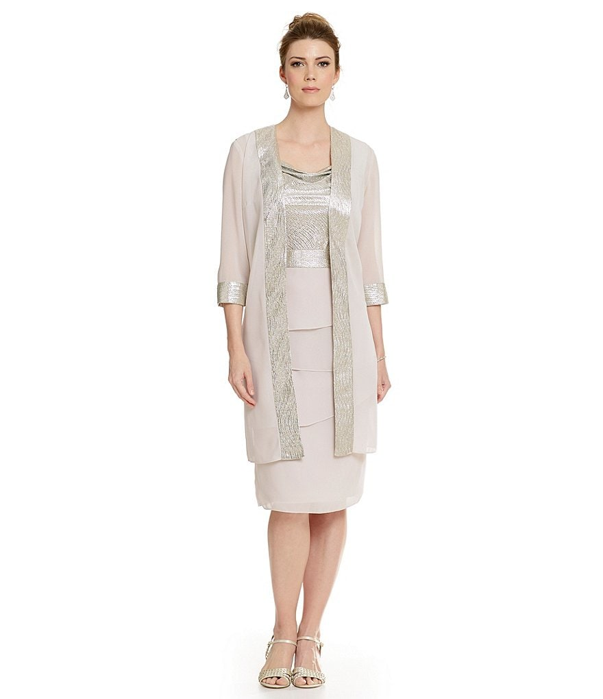 Le Bos Metallic Solange Tiered Jacket Dress