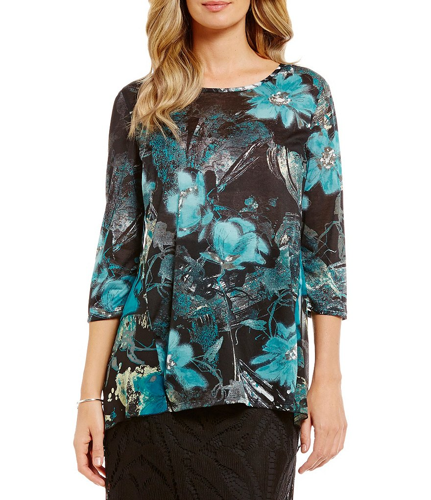 Multiples Scoop-Neck Hi-Lo Printed Pleated Back Knit Top