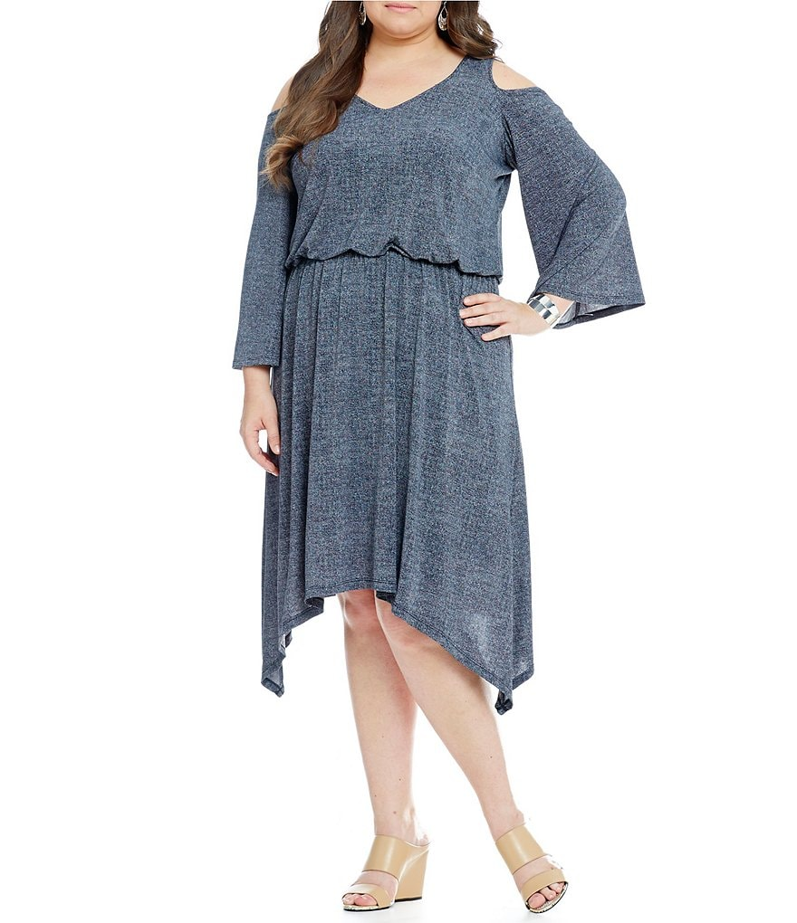 London Times Plus Cold Shoulder Denim Hanky Dress