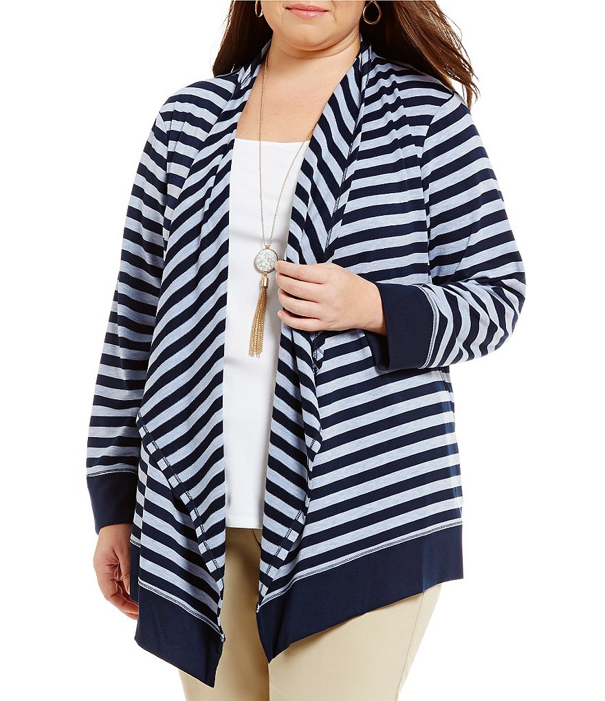 Ruby Rd. Plus Cascade Collar Striped Silky French Terry Knit Cardigan