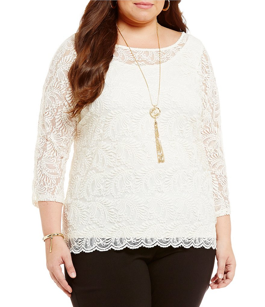 Ruby Rd. Plus Jewel Neck Paisley Lace Dolman Sleeve Top