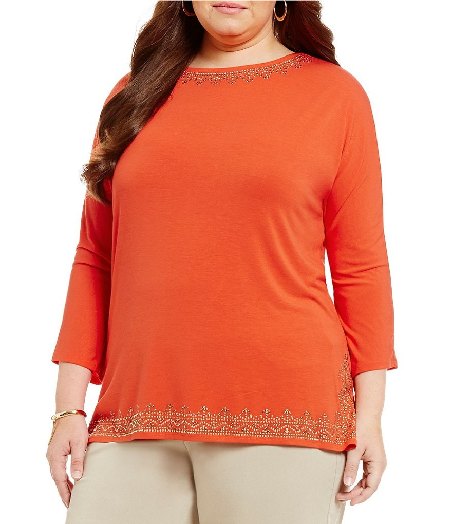 Ruby Rd. Plus Embellished 3/4 Dolman Sleeve Solid Knit Top