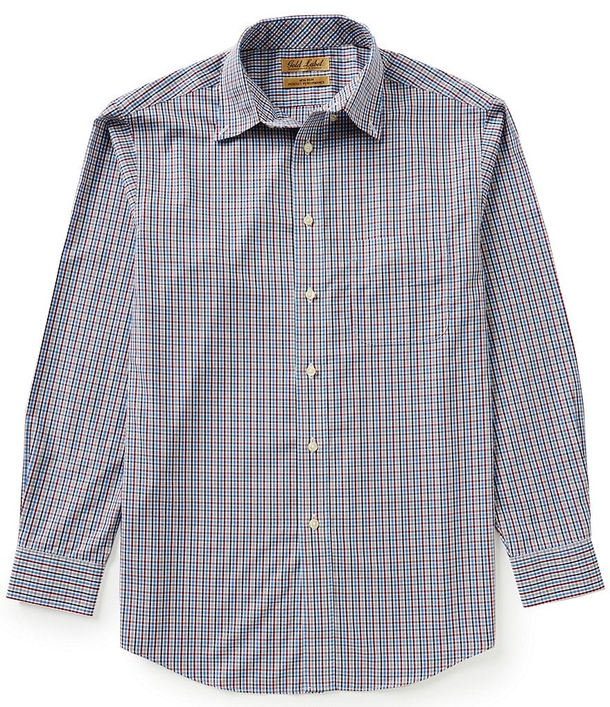 Gold Label Roundtree & Yorke Non-Iron Long-Sleeve Multi Mini Check Sportshirt