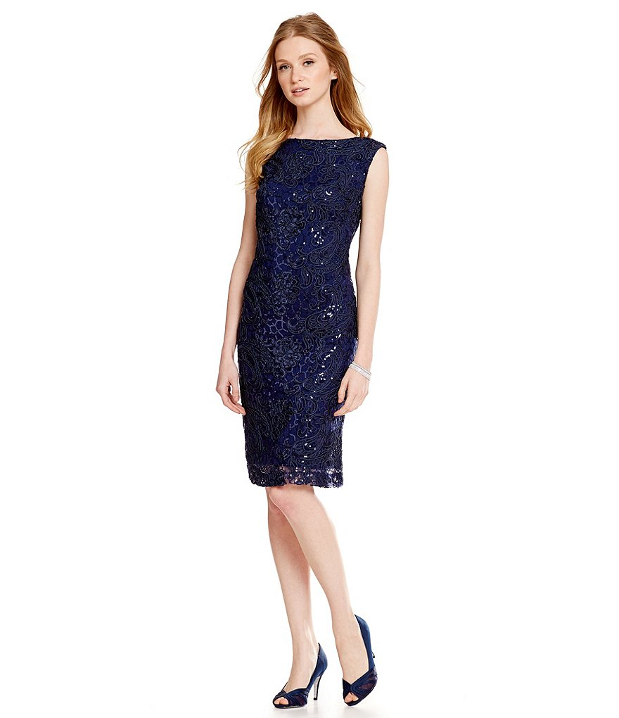 Brianna Cap-Sleeve Sequin Lace Sheath Dress