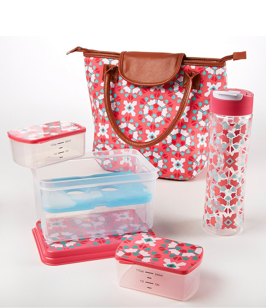 Fit & Fresh Avery Fuchsia Floral Burst Lunch Kit with Tritan Water Bottle
