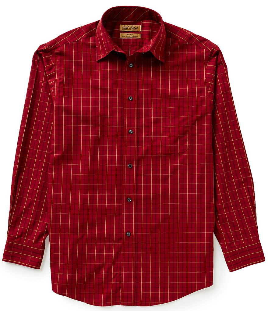 Gold Label Roundtree & Yorke Non-Iron Long-Sleeve Tattersol Plaid Sportshirt