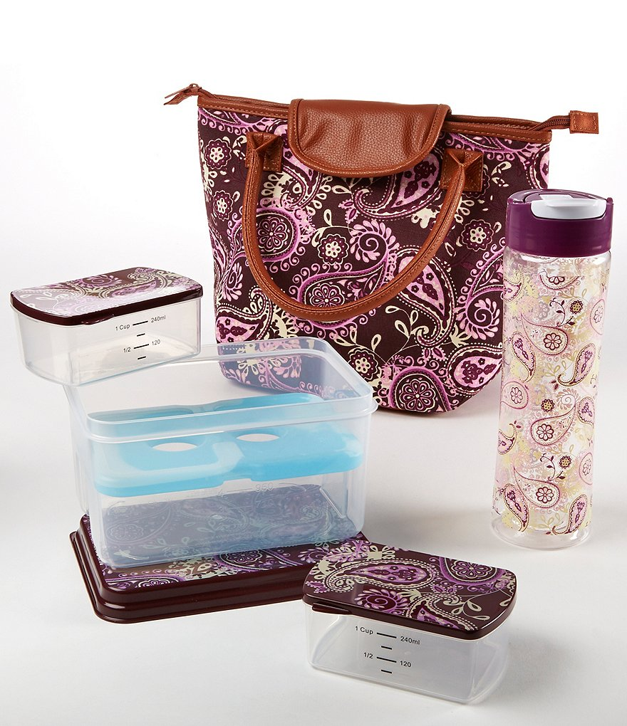 Fit & Fresh Avery Purple Cream Paisley Lunch Kit