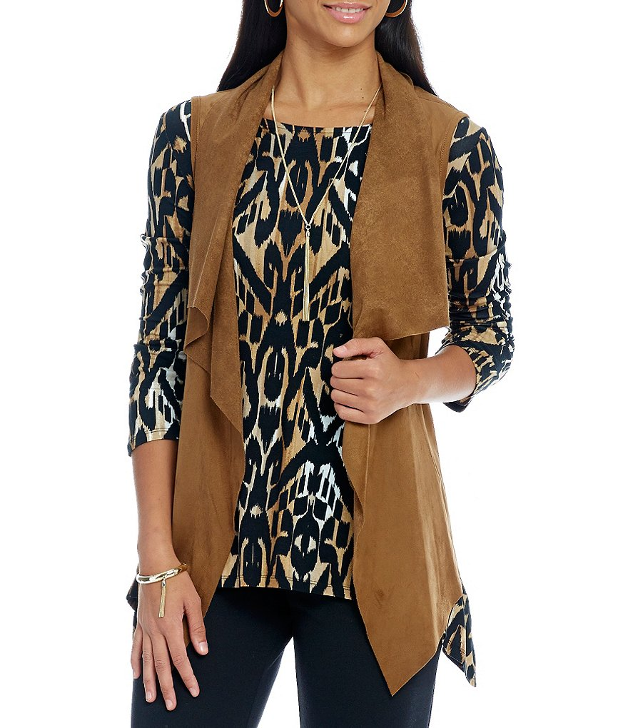 Ruby Rd. Petite Cascade Collar Stretch Suede Vest
