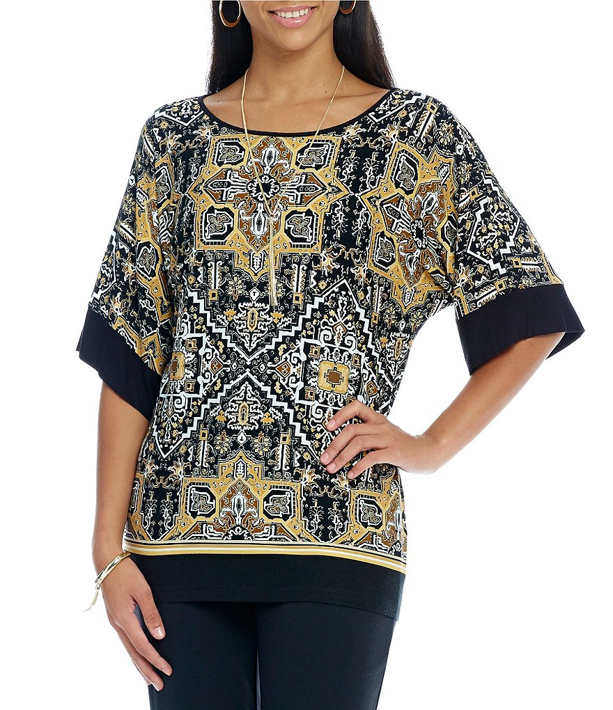 Ruby Rd. Petite Scoop-Neck Dreamweaver Placement Print Top