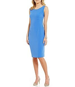 Kasper Solid Stretch Crepe Sheath Dress Image