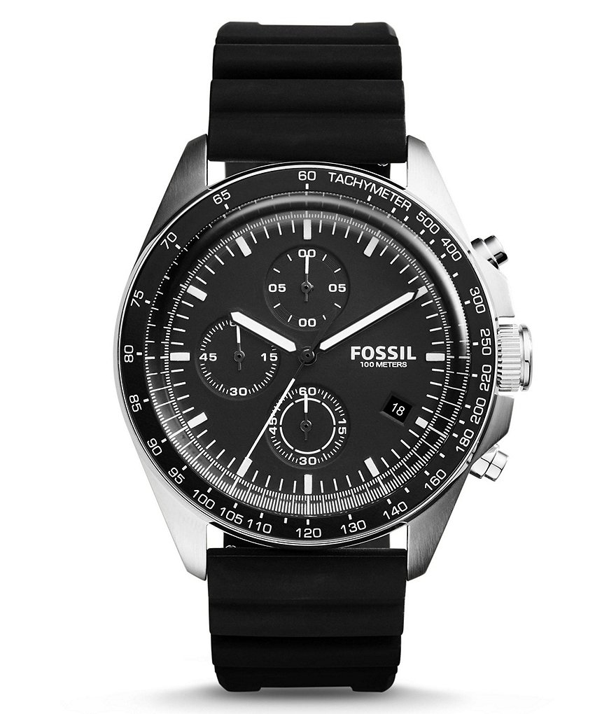 Fossil Sport 54 Chronograph Black Silicone Strap Watch