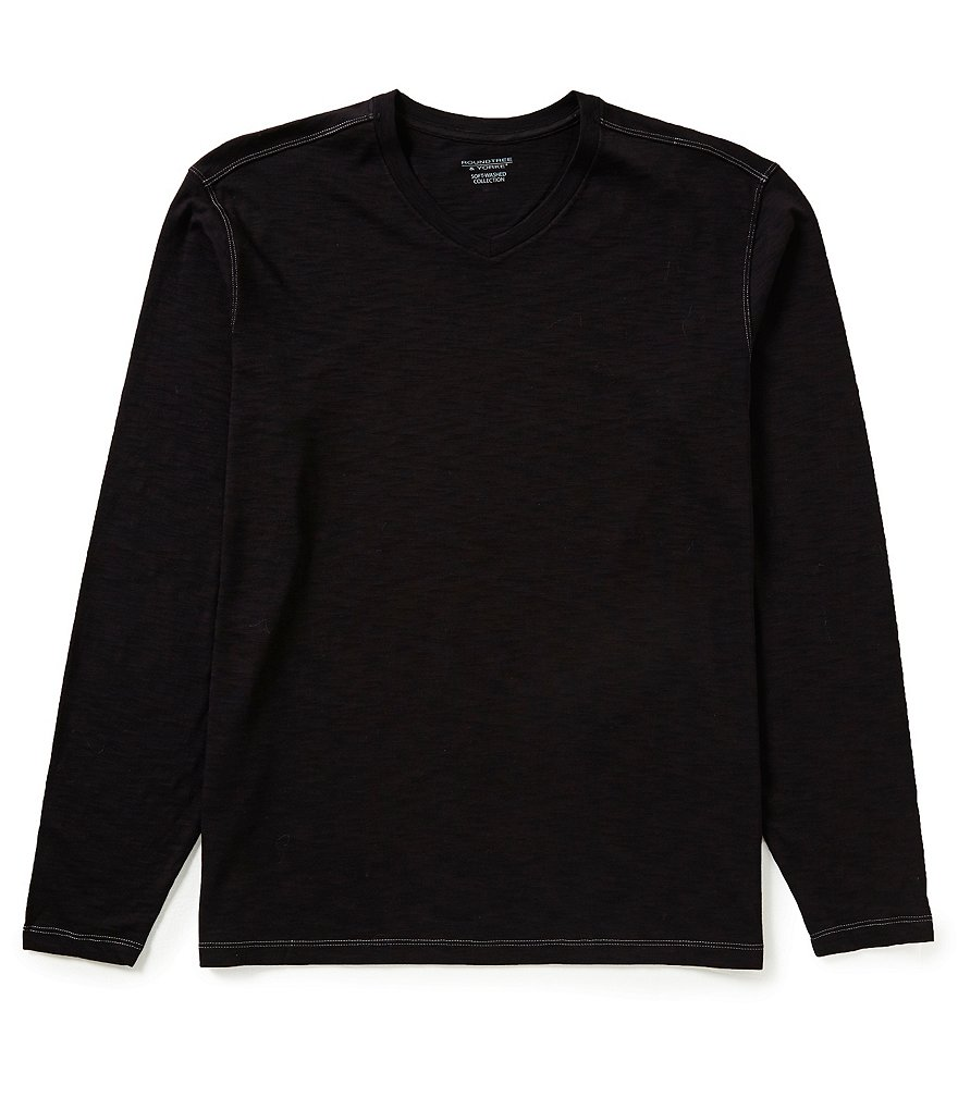 Roundtree & Yorke Soft Washed Long-Sleeve Slub V-Neck Tee