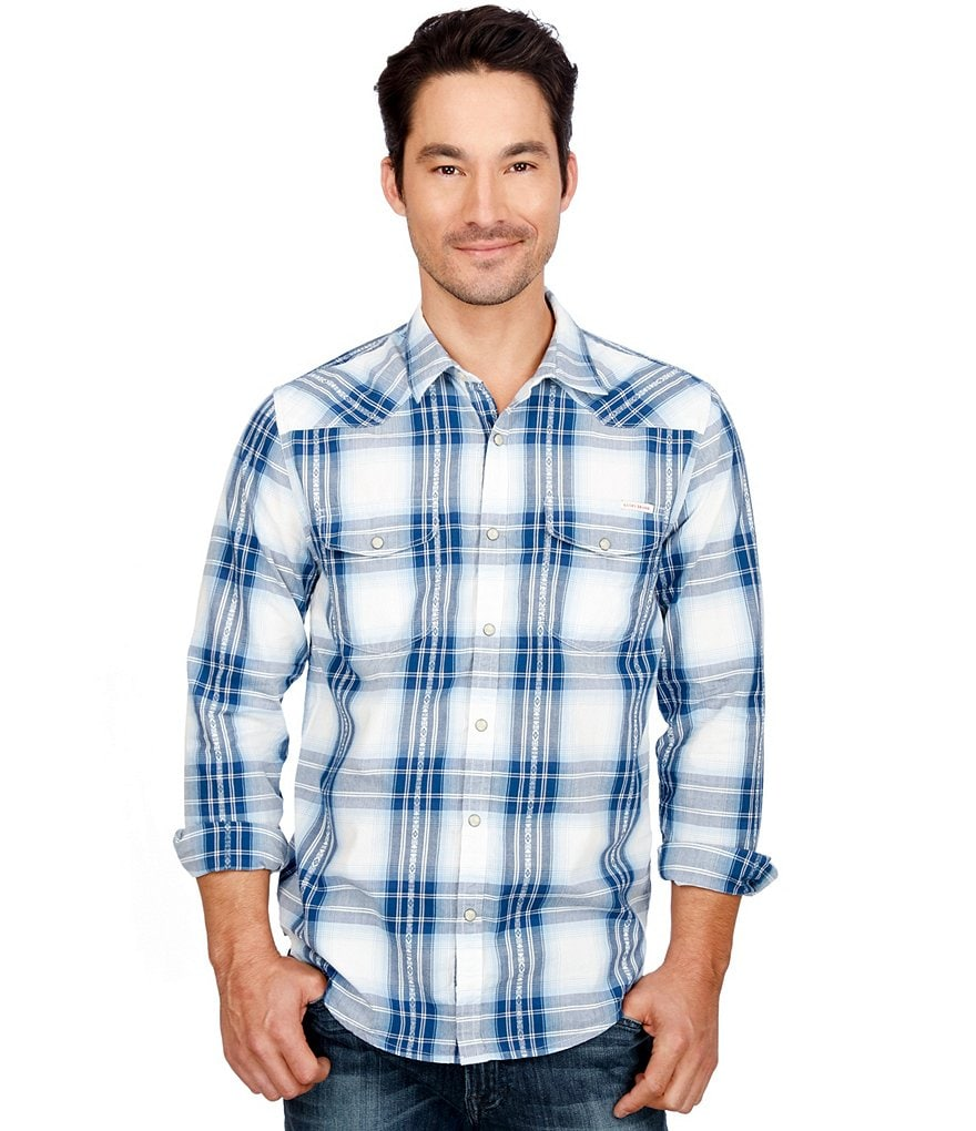 Lucky Brand Santa Fe Snap Front Plaid Western Shirt