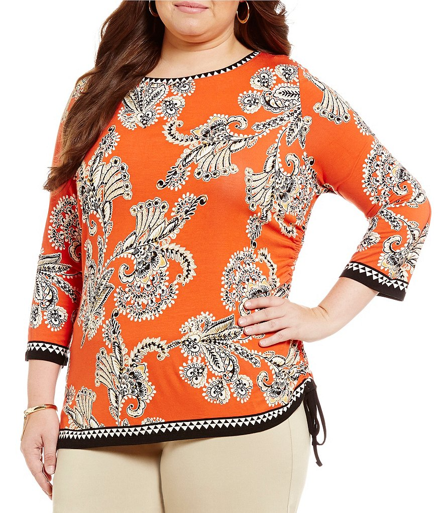 Ruby Rd. Plus Embellished Boat-Neck Print Side Ruching Knit Top