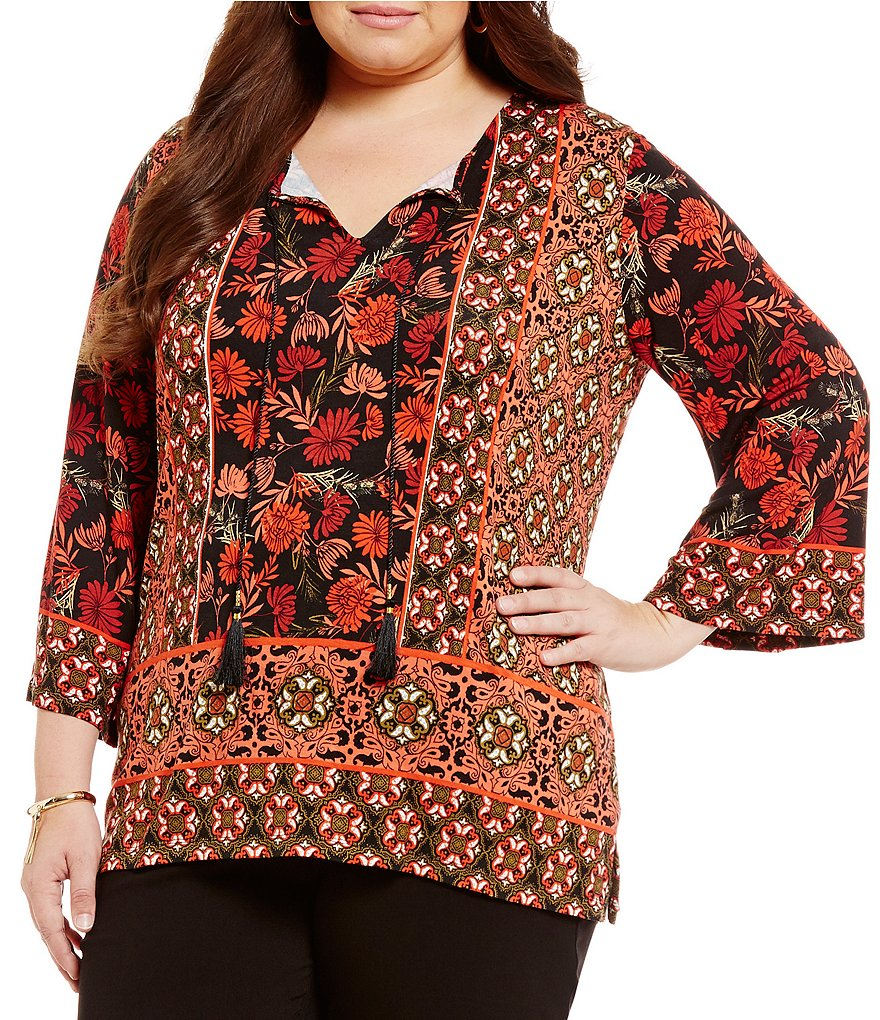 Ruby Rd. Plus 3/4 Bell Sleeve Top w/ Foulard Placement Print