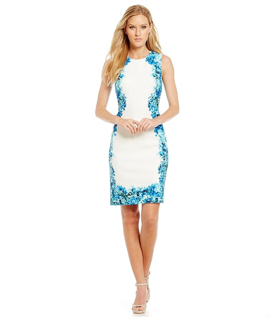 Calvin Klein Floral Border Scuba Sheath Dress