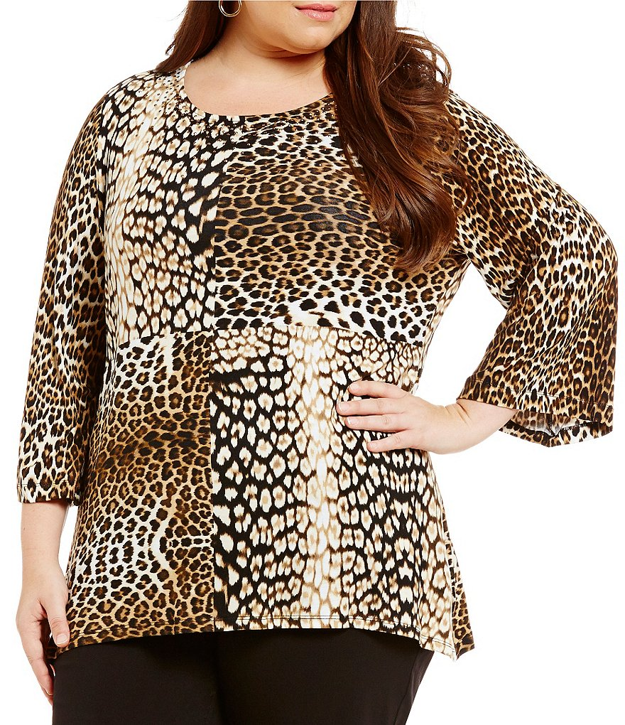Ruby Rd. Plus Embellished Blocked Leopard Placement Print Top