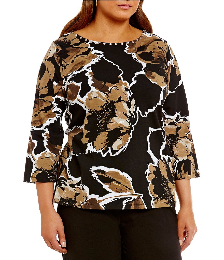 Ruby Rd. Plus Embellished Boat Neck Autumn Floral Print Knit Top