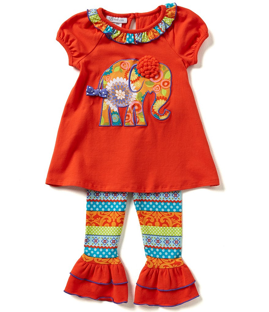 Bonnie Jean Little Girls 2T-6X Elephant Appliqué Dress And Mixed Media Leggings Set