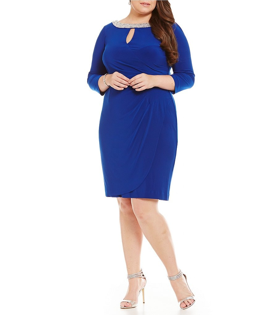 Alex Evenings Plus 3/4 Sleeve Keyhole Embellished Neckline Dress