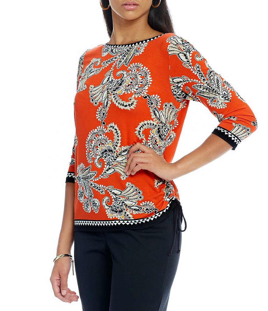 Ruby Rd. Petite Embellished Print Side Ruching Knit Top