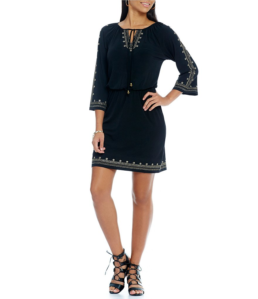 Ruby Rd. Petite Embellished Tie-Neck Blouson Dress
